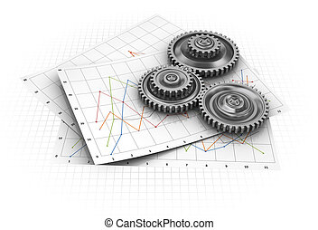 industrial graph - abstract 3d illustration of diagram paper...