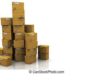 warehouse background - abstract 3d illustration of carton...