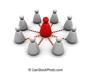 business leader - abstract 3d illustration of business team...