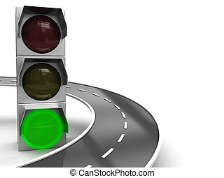 green way - abstract 3d illustration of traffic light with...