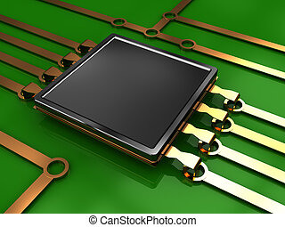 electronic circuit - 3d illustration of electronic chip and...
