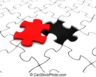 puzzle last piece - abstract 3d illustration of white puzzle...