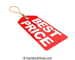 best price tag - 3d illustration of red tag with text 'best...