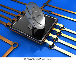 wireless technology - abstract 3d illustration of electronic...