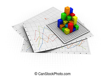 business diagram - abstract 3d illustration of business...