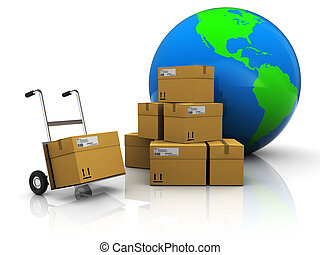 world delivery - abstract 3d illustration of warehouse with...