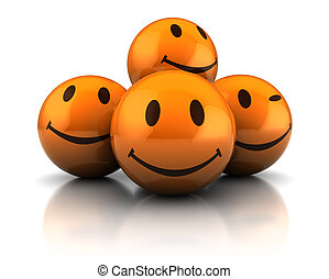 happy faces - abstract 3d illustration of happy faces heap,...