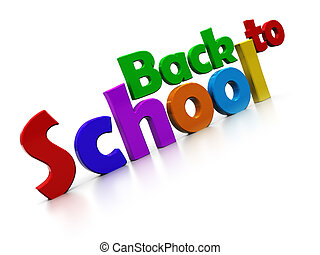 back to school - 3d illustration of colorful sign 'bac to...