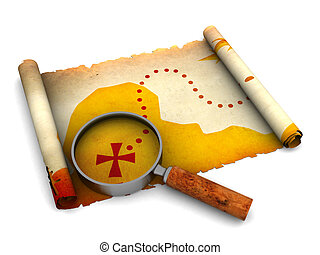 treasure map - 3d illustration of treasure map and magnify...