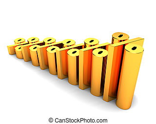 percent charts - 3d illustration of raising percent charts...