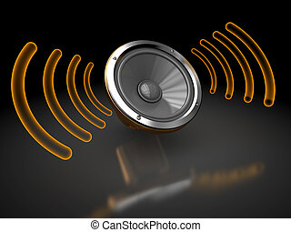 audio speaker - 3d illustration of audio speaker with waves,...