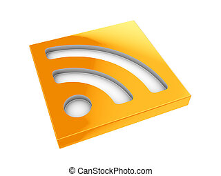 rss icon - abstract 3d illustration of rss icon or symbol...