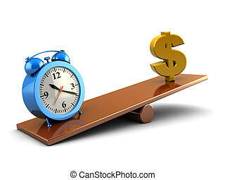 time and money - abstract 3d illustration of dollar sign and...