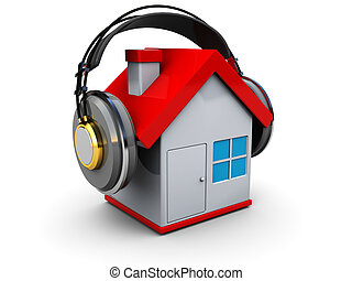 house music - abstract 3d illustration of house with...