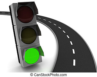 free way - 3d illustration of asphalt road and traffic light