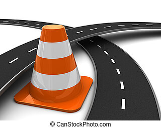 traffic - 3d illustration of road cross and traffic cone,...