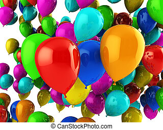 party balloons - abstract 3d illustration of colorful party...