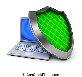 computer protection - 3d illustration of laptop computer and...