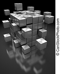 steel blocks structure - abstract 3d illustration of box...