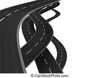 roads - 3d illustration of asphalt roads background