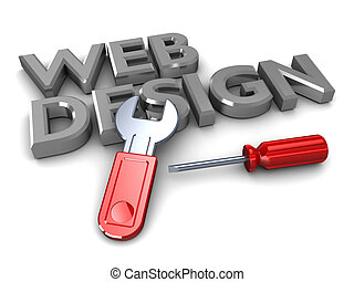 web design - abstract 3d illustration of text web design...