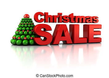Christmas sale - abstract 3d illustration of Chrsitmas tree...
