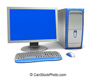 3d computer - 3d illustration of generic desktop computer...