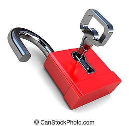opened lock - 3d illustration of opened lock with key, over...