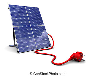 solar panel with power plug - 3d illustration of solar panel...