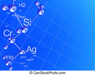 chemistry background - abstract 3d illustration of blue...