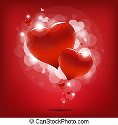 Hearts - Valentin`s Day Card With Hearts, Vector...