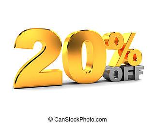 twenty percent discount - 3d illustration of 20 percent...
