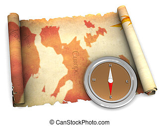 ancient map and compass - 3d illustration of an ancient map...