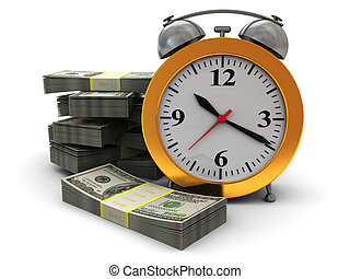 time is money - abstract 3d illustration of alarm clock and...