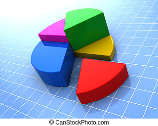 chart - 3d illustration of colorful pie chart over blue grid...