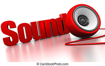 sound sign - 3d illustration of sign 'sound' with audio...