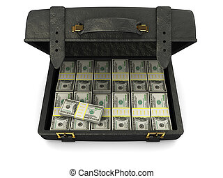 case with money - 3d illustration of black leather case full...