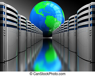 internet servers - abstract 3d illustration of server...