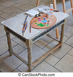 accessories for painting on the table - Children table with...