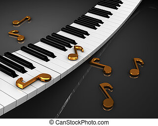 music background - 3d illustration of piaon and music note...