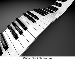 piano background - abstract 3d illustration of curved piano...