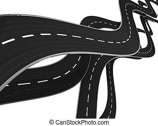 roads background - abstract 3d illustration of asphalt roads...