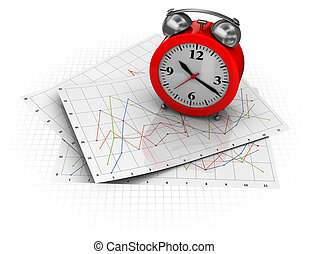 stock graph and clock - 3d illustration of business diagrams...