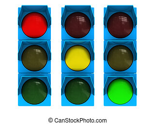 traffic light - 3d illustration of traffic light isolated...