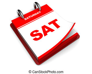 saturday - 3d illustration of calendar with saturday page...