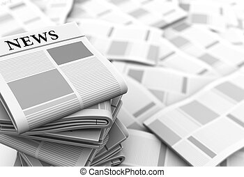 newspapers background - abstract 3d illustration of gray...