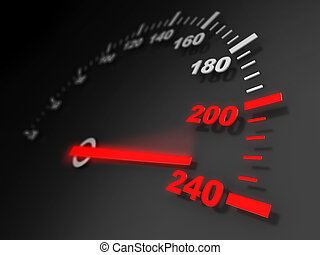 speed - 3d illustration of car speed meter close-up
