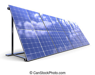 solar panels - 3d illustration of solar panels row over...