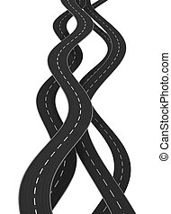 roads - 3d illustration of curved roads isolated over white...