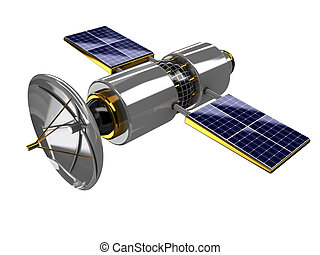 broadcasting satellite - 3d illustration of broadcasting...